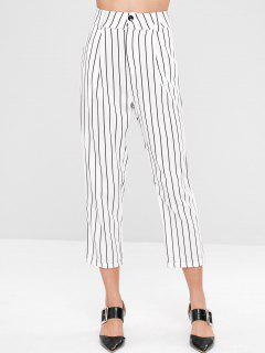 Striped Cuffed Tapered Pants - White M