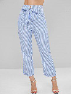 Cuffed Striped Tapered Pants - Sky Blue M
