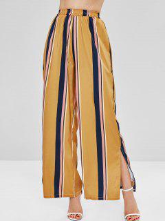 Striped Wide Leg Side Slit Pants - Multi S