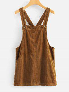 Shadow Stripes Pinafore Dress - Light Brown M