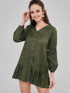 Button Up Drop Waist Straight Dress - Fern Green S