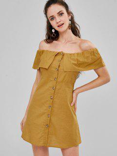 Button Up Off Shoulder Mini Dress - Orange Gold M