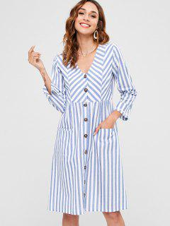 Striped Button Up Pocket Dress - Blue Xl