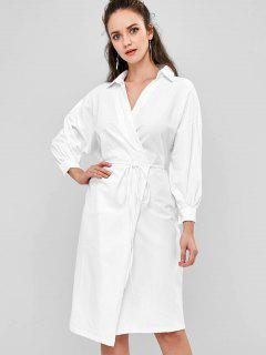 Batwing Wrap Midi Dress - White
