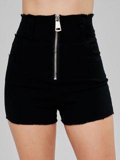 Frayed Zip Up Shorts - Black Xl
