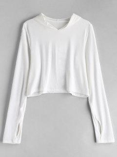 Mesh Panel Thumbhole Pullover Cropped Hoodie - White M