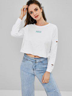 Cutout Embroidered Sweatshirt - White