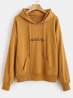 Front Pocket Letter Embroidered Hoodie - Caramel Xl