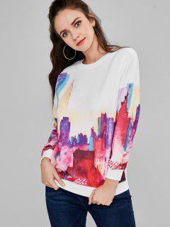 Buildings Print Crew Neck Sweatshirt - White