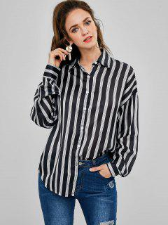 Striped Oversized Shirt - Black