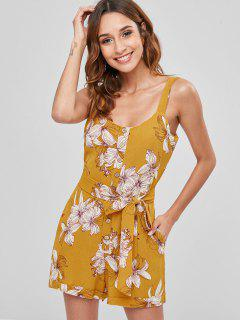 Belted Buttoned Floral Romper - Bee Yellow L