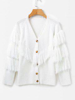 Fringed Sweater Cardigan - White