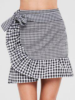 Plaid Ruffle Bowknot Skirt - Multi L