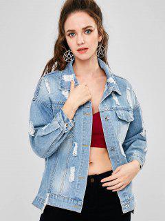 Distressed Patch Button Up Denim Jacket - Jeans Blue L