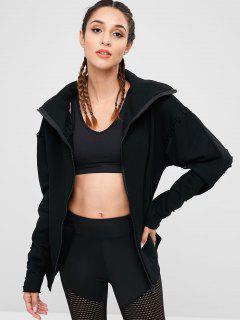 Drop Shoulder Lace Up Jacket - Black S