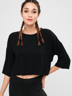 Drop Shouder See Through T-shirt - Black L