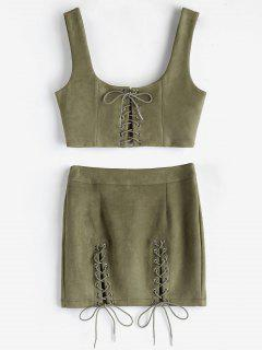 Faux Suede Crop Top And Skirt Co Ord Set - Khaki M
