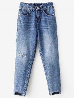 High Waisted Distressed Mom Jeans - Blue Xl