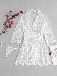 Scalloped Sheer Lace Robe Thong Panty Lingerie Set - White M