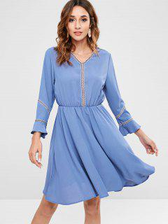 Ethnic Trim Long Sleeve A Line Dress - Light Blue M