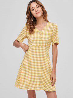 Half Button Knotted Plaid Dress - Goldenrod M
