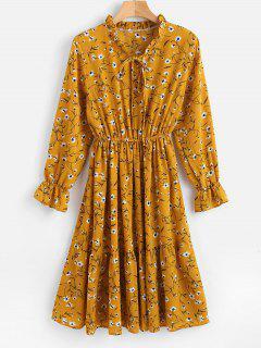 Floral Ruffled Long Sleeve Dress - Golden Brown L