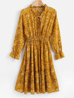 Floral Ruffled Long Sleeve Dress - Golden Brown S