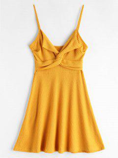 Twist Front Cami Knit Skater Vestido - Amarillo S