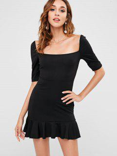 Short Ruffled Square Neck Dress - Black L
