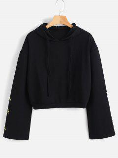 Drawstring Embroidered Hoodie - Black