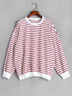 Striped Drop Shoulder Oversized Sweatshirt - Multi