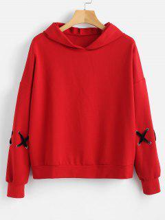 Sudadera Con Capucha Cross Shoulder Criss Cross - Amo Rojo