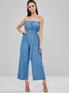 Strapless Button Up Wide Leg Jumpsuit - Denim Blue L