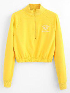 Half Zipper Embroidery Crop Sweatshirt - Yellow L