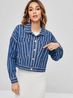 Oversized Striped Denim Jacket - Blue M