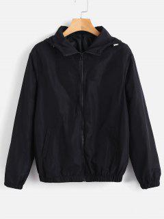Zip Up Hooded Jacket - Black M