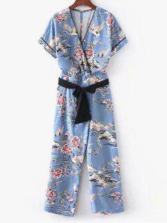 Floral Surplice Jumpsuit - Baby Blue L