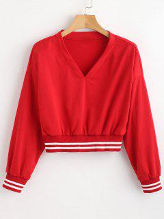 Striped Panel Cropped Sweatshirt - Red L