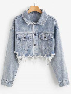 Light Wash Distressed Cropped Denim Jacket - Denim Blue M