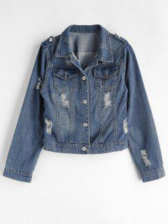 Ripped Western Denim Jacket - Blue L