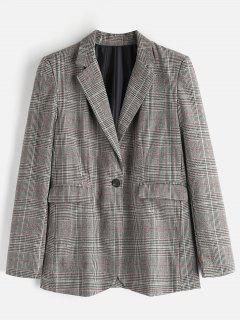 Boyfriend Checked One Button Blazer - Multi M