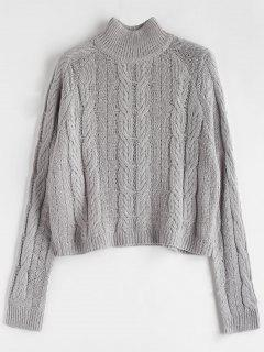 Cable Knit High Neck Sweater - Gray