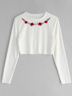 Floral Embroidered Ribbed Tee - White L