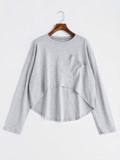 Drop Shouler Long Sleeve Asymmetrical T-shirt - Light Gray