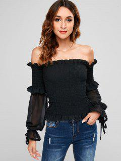 Smocked Off Shoulder Frill Blouse - Black