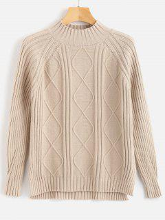 Ribbed High Neck High Low Sweater - Blanched Almond