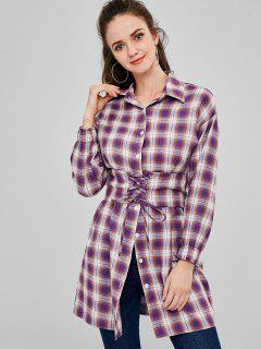 Button Up Plaid Long Belted Shirt - Multi L