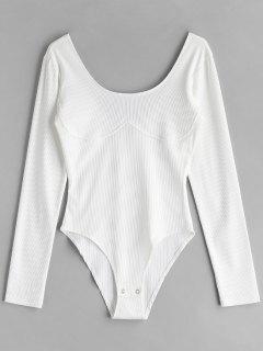 Long Sleeve Ribbed Snap Crotch Bodysuit - White L