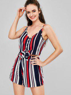 Striped Cami Top And Shorts Co Ord Set - Multi L