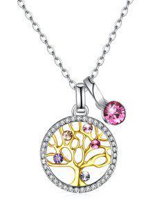 Elegante Collar De Cristal Del árbol De La Vida - Rosado